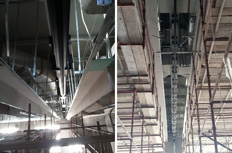6.7M high movable wall is under installation
