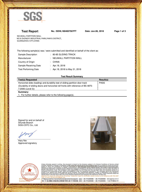 80-85 SLIDING TRACK TEST REPORT-Neuwall Partition Wall