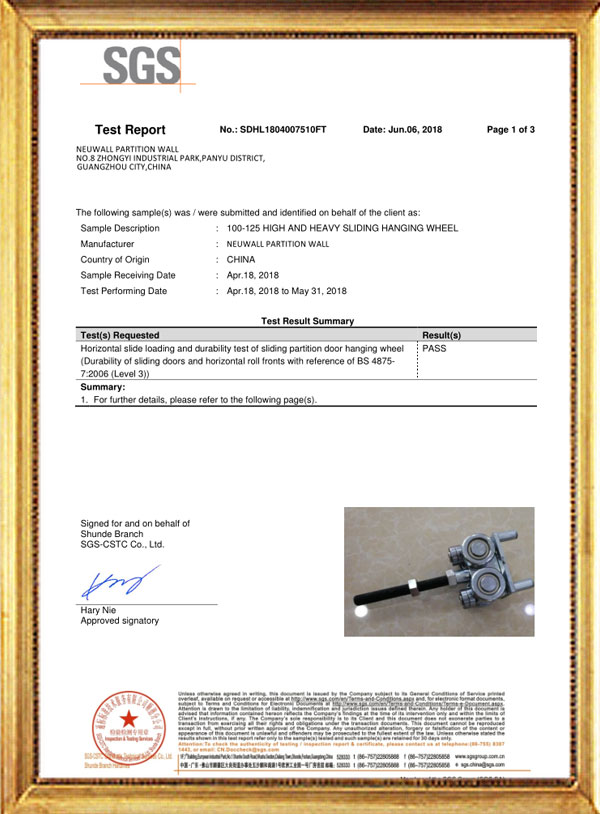 100-125 HIGH AND HEAVY SLIDING HANGING WHEEL TEST REPORT-Neuwall Partition Wall