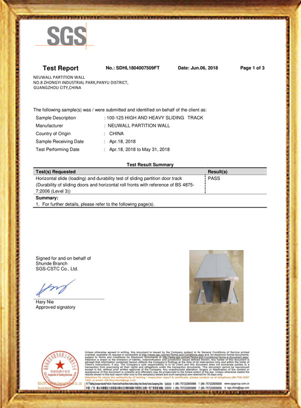 100-125 HIGH AND HEAVY SLIDING TRACK TEST REPORT-Neuwall Partition Wall
