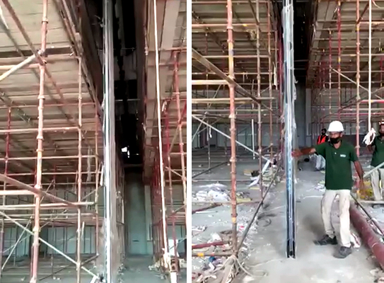 7m high Movable Wall is being installed by Neuwall Partition Wall